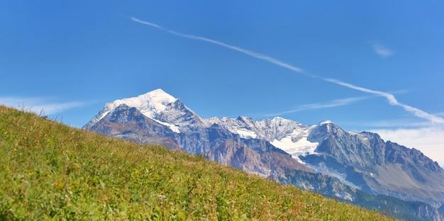 Szczyt wysokogórski pokryty śniegiem tył zielonej łąki pod błękitne niebo