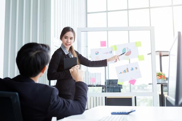 Szef biznesmen i bizneswoman dwóch partnerów przedstawiających nowe pomysły na projekty