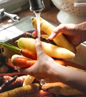 Szef kuchni czyści marchewki i rzepę w zlewie