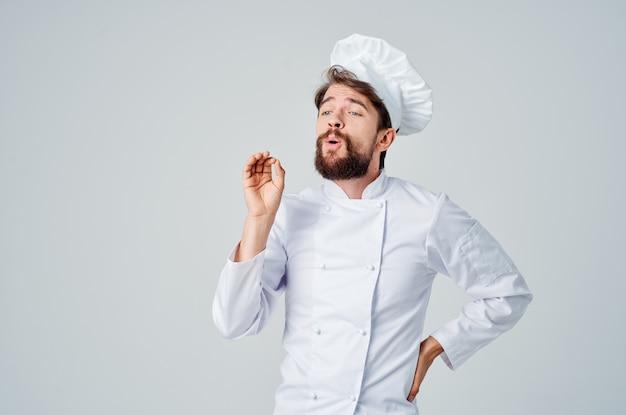 Szef kuchni gesty rąk pracy profesjonalne emocje. zdjęcie wysokiej jakości