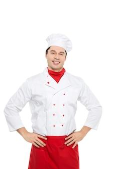 Szef kuchni mężczyzna na białym.