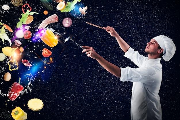 Szef kuchni tworzy muzyczną harmonię z jedzeniem i śniegiem