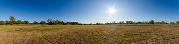 Szeroka panorama krajobrazu z zielonymi drzewami, polem, słońcem, drogą i niebieskim niebem.