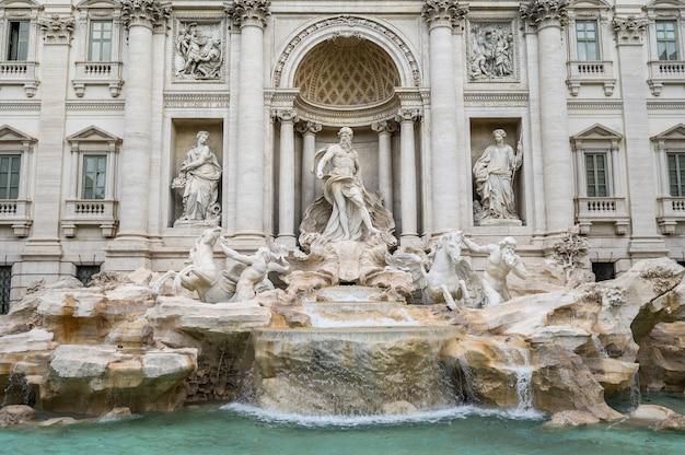 Szeroki kąt widzenia słynnej fontanny di trevi. popularna miejscowość turystyczna w centrum miasta.