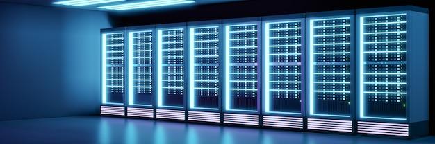 Szeroki obraz perspektywiczny rzędu kontenerów serwera w ciemnym pokoju z efektem poświaty. renderowanie ilustracji 3d.