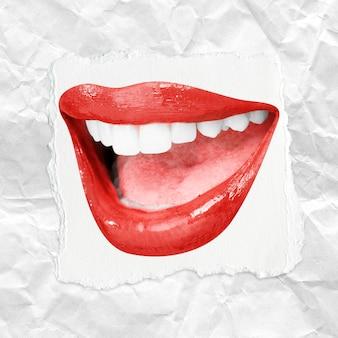 Szeroki uśmiech z zębami czerwone usta kobiety walentynkowy post w mediach społecznościowych
