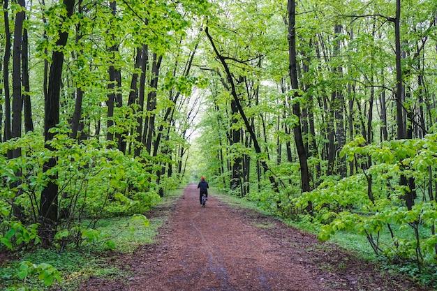Szerokie ujęcie mężczyzny jadącego na rowerze po ścieżce pośrodku lasu pełnego drzew