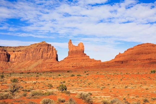 Szeroko otwarta przestrzeń pustynna z obfitą zielenią wiosenną z niebieskim niebem i czerwonymi górami w oddali, usa