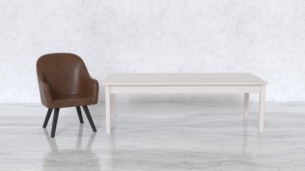 Szeroko otwarte tło są krzesła i długi stół z marmurową podłogą. scena 3d.