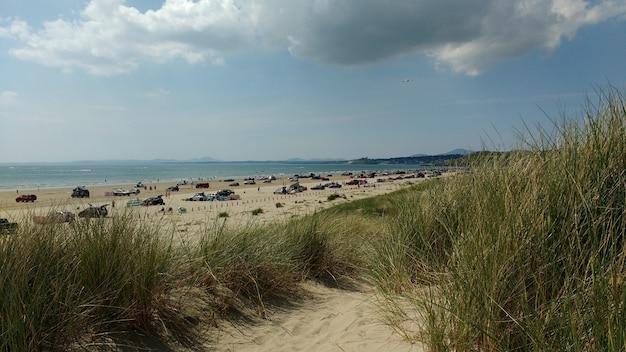 Szerokokątne ujęcie plaży z zaparkowanymi samochodami w pochmurny dzień