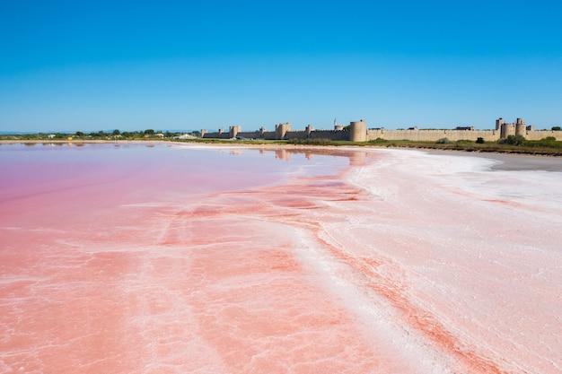 Szerokokątne ujęcie wielobarwnych jezior solnych w camarque we francji