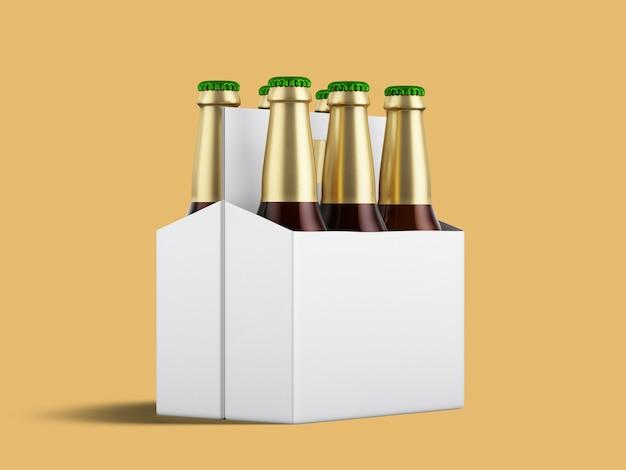 Sześć butelek piwa w kartonowym opakowaniu z zielonymi nakrętkami z odblaskiem w lśniącej białej podstawie.