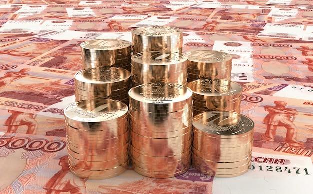 Sześć stosów dziesięciu rubli starannie ułożonych na pięciu tysiącach rosyjskich banknotów 3d ilustracji