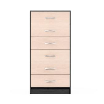 Sześć szuflad nowoczesna drewniana komoda na białym tle. renderowanie 3d.