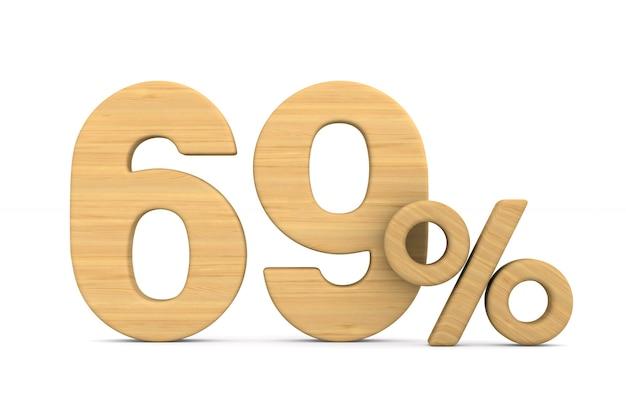 Sześćdziesiąt dziewięć procent na białym tle.