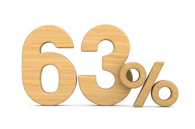 Sześćdziesiąt trzy procent na białym tle.