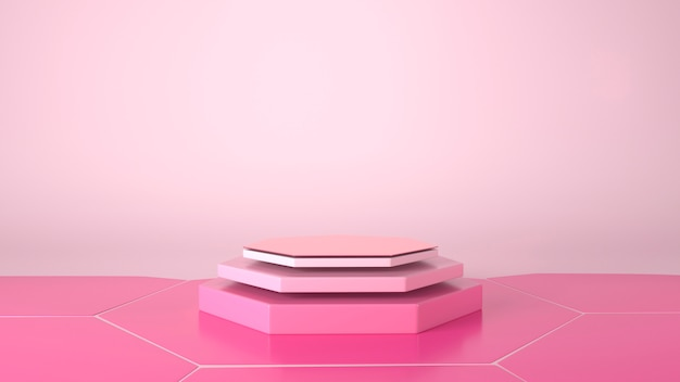 Sześciokąt showcase podium w różowym tle.