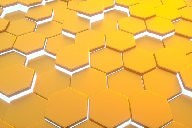 Sześciokąta żółty wzór streszczenie tło nowoczesne