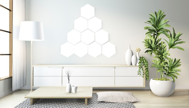 Sześciokątna lampa kafelkowa na ścianie i drewniana szafka minimalistyczny design w nowoczesnym japońskim stylu pokoju zen