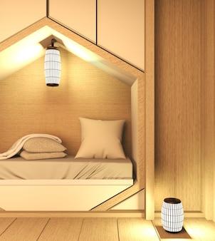 Sześciokątna półka do łóżka, sypialnia w stylu japońskim z roślinami i dekoracją lampy na drewnianej podłodze. renderowania 3d