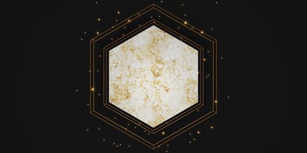 Sześciokątna rama tekstury puste marmurowe tło dla ilustracji 3d tekstu i towarów