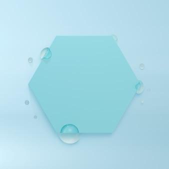 Sześciokątna ramka z kroplami wody. renderowanie 3d