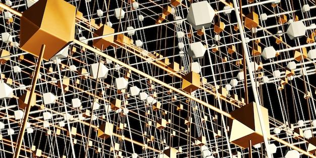 Sześciokątna siatka struktura atomowa w stylu cyberpunk neonowa ilustracja 3d