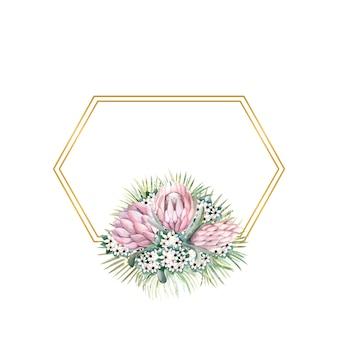 Sześciokątna złota ramka z kwiatami protea, tropikalnymi liśćmi, liśćmi palm, kwiatami bouvardii