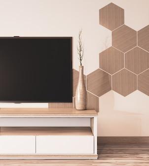 Sześciokątne płytki na ścianie i drewniane szafki w stylu japońskim w pokoju minimalne przebarwienie l.3d