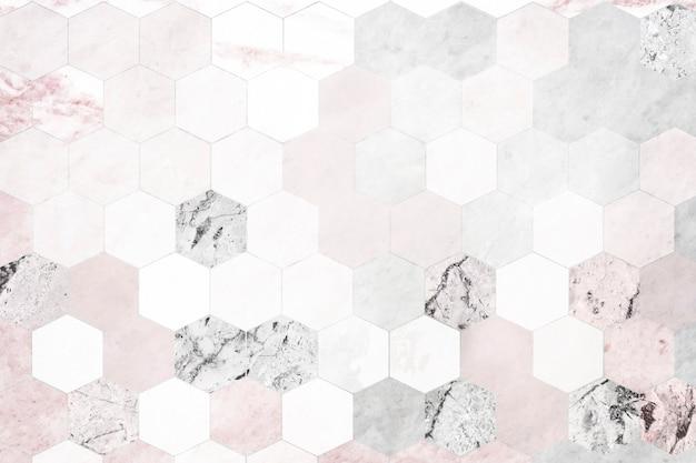 Sześciokątne różowe marmurowe płytki wzorzyste