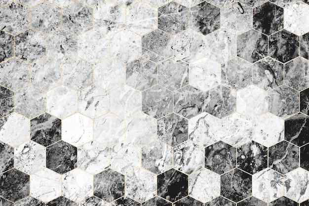 Sześciokątne szare marmurowe kafelki wzorzyste