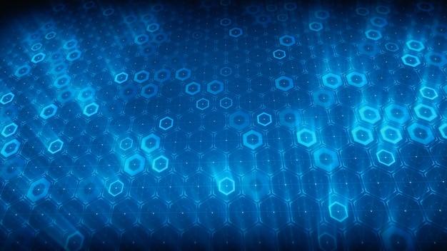 Sześciokątny wzór cyfrowej technologii przyszłości