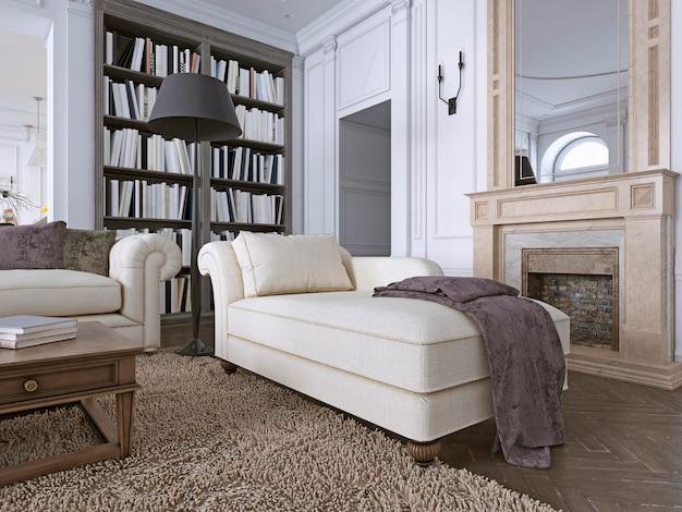 Szezlong w klasycznym salonie z biblioteką. renderowanie 3d
