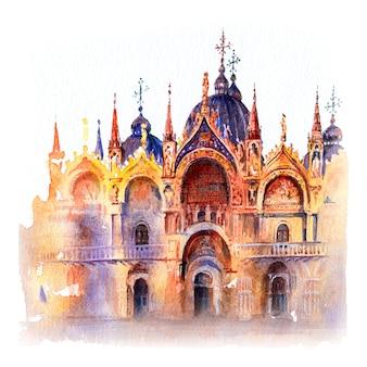 Szkic akwarela bazyliki katedralnej świętego marka, wenecja, włochy.