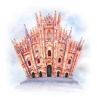Szkic akwarela katedry w mediolanie, włochy