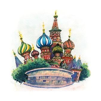 Szkic akwarela katedry wasyla błogosławionego lub wasyla błogosławionego w moskwie, rosja