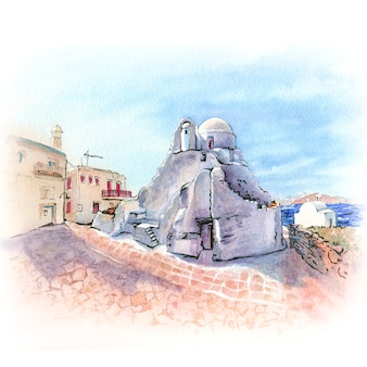 Szkic akwarela mykonos, grecja