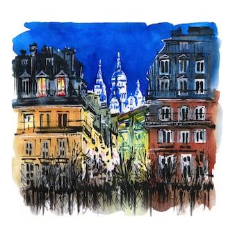 Szkic akwarela nocnego paryża, francja