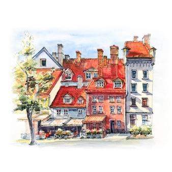Szkic akwarela placu livu na starym mieście w rydze, łotwa