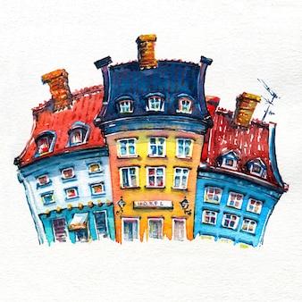 Szkic akwarela przedstawiający nyhavn w kopenhadze, enmark.