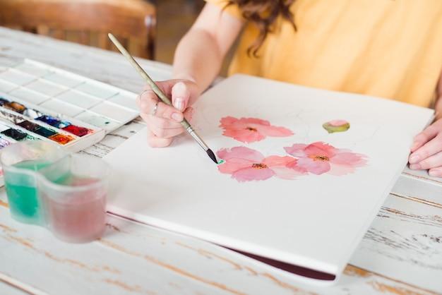 Szkic akwarela różowe kwiaty
