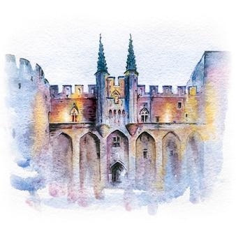 Szkic akwarela słynnego średniowiecznego pałacu papieży w awinionie w południowej francji