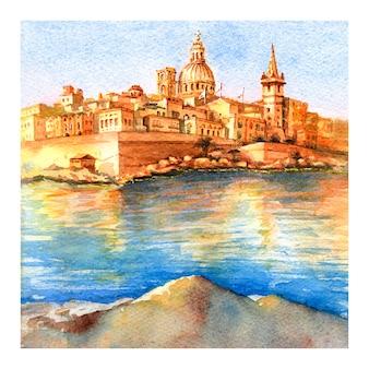 Szkic akwarela z valletty o wschodzie słońca, malta