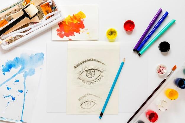 Szkic artysty i pakiet narzędzi