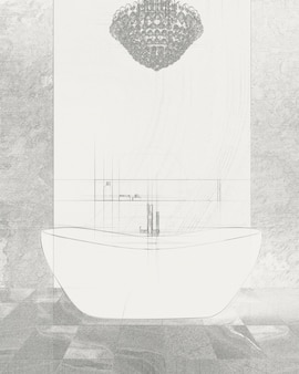 Szkic białej wanny stojącej z wolnostojącą baterią w nowoczesnej łazience. rysunek odręczny.