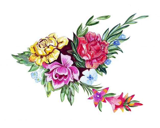 Szkic ilustracji duży bukiet kwiatów malowanych w akwareli