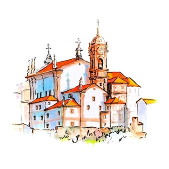 Szkic markera domów i kościoła w porto, portugalia