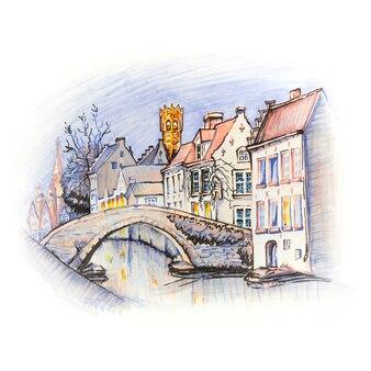 Szkic markera kanału brugii z pięknymi domami