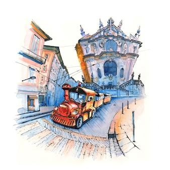 Szkic markera pociągu turystycznego w pobliżu kościoła clerigos, porto, portugalia