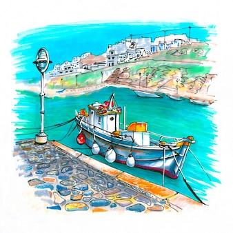 Szkic markera portu na mykonos, grecja